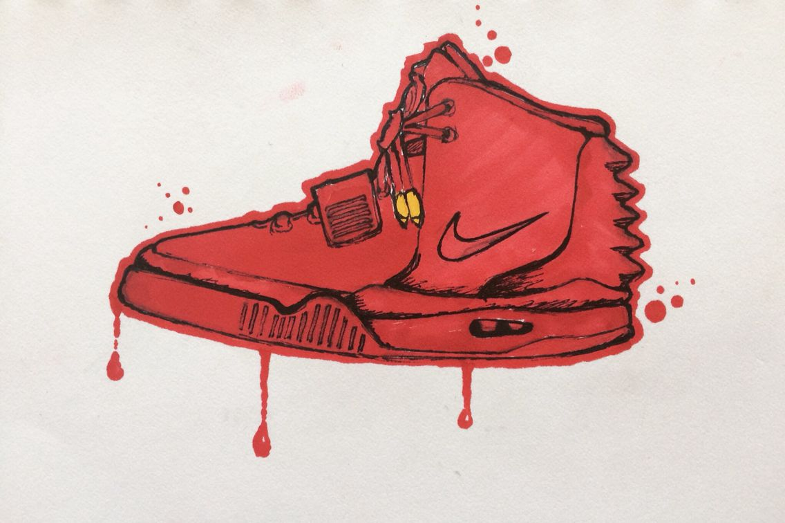 1136x756 Air Yeezy 2 Red October Drawing By Christian Thesken Yeezy