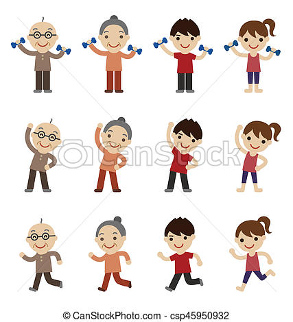 427x470 Senior Young Couple Exercising Together. Senior Man