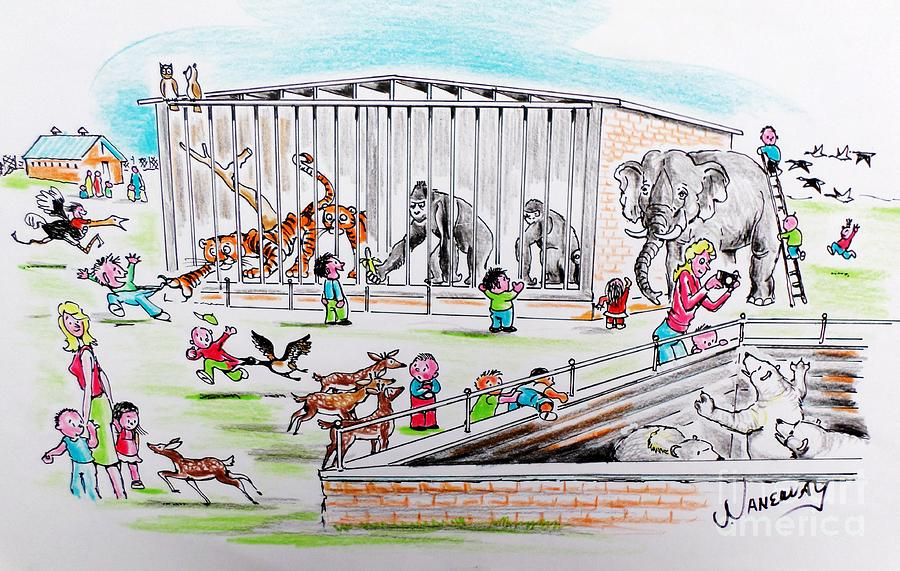 900x571 Field Day At The Zoo Drawing By Jim Janeway