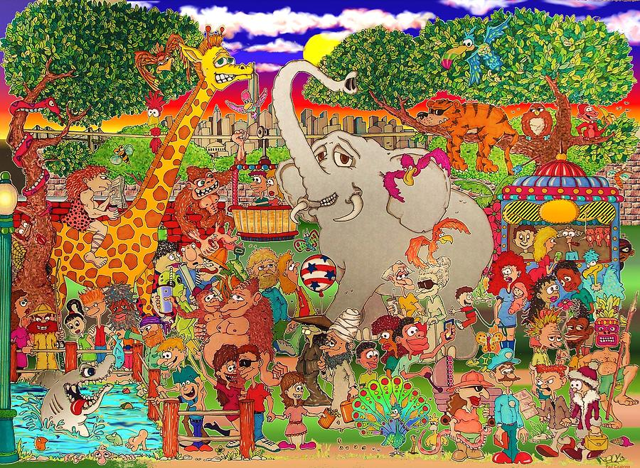 900x659 The Bronx Zoo Uncaged Drawing By Paul Calabrese
