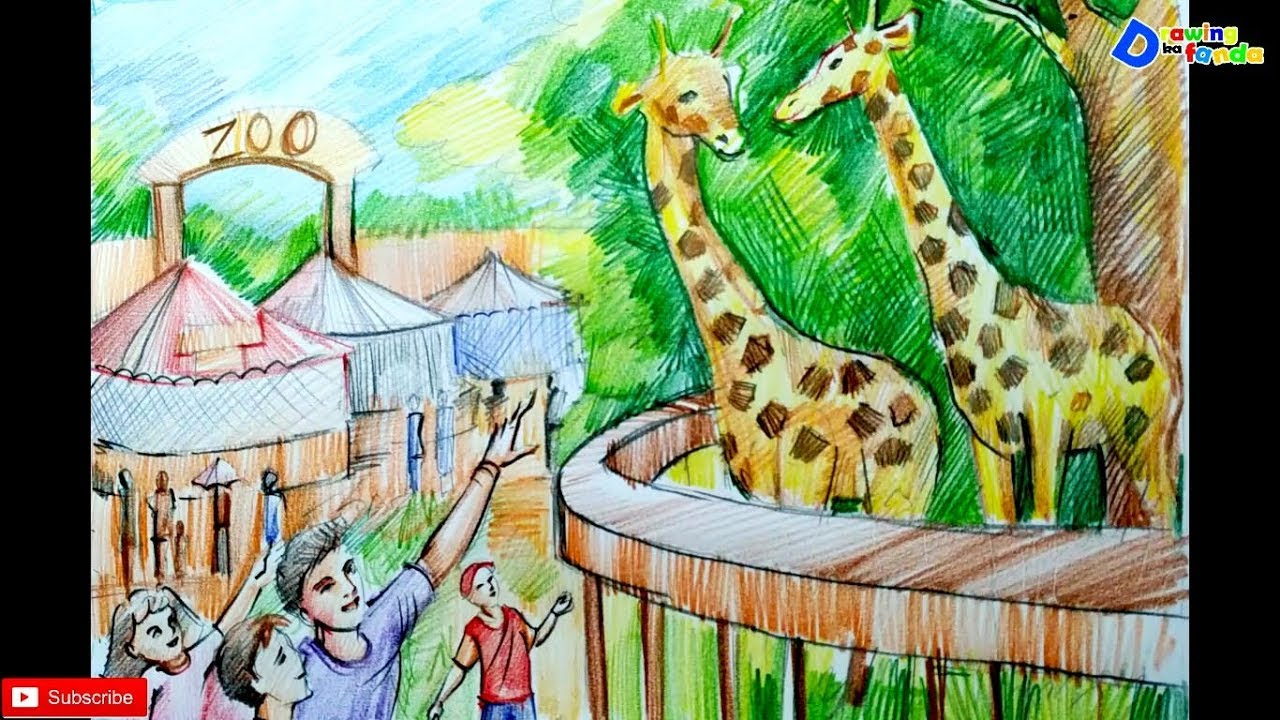 1280x720 How To Draw Zoo Scenery For Kids
