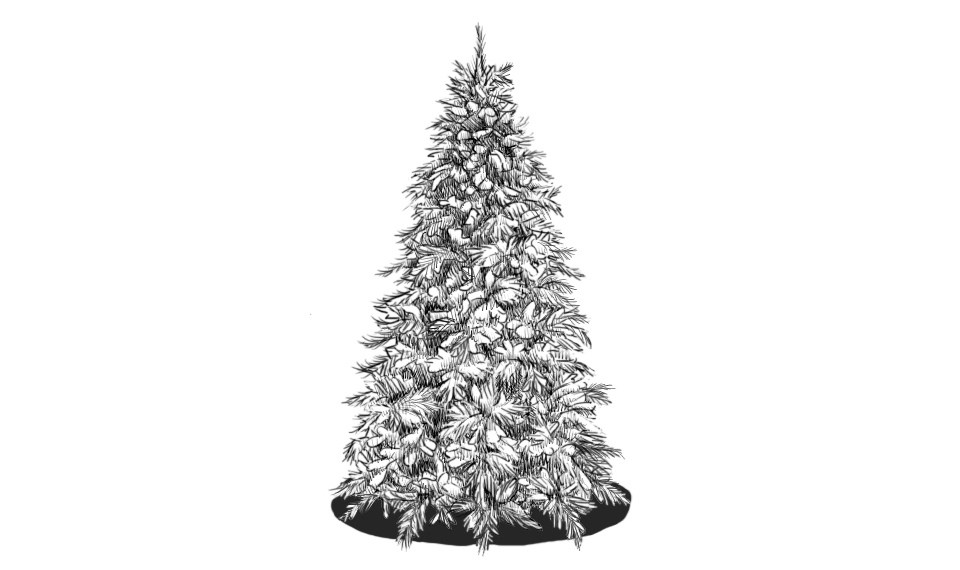 How to draw a Christmas tree on a graphic tablet?