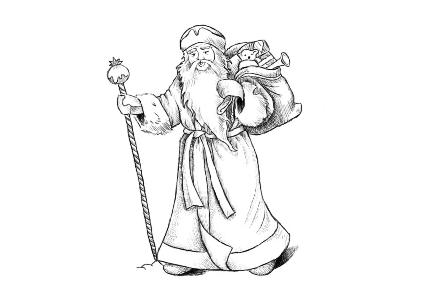 How to draw Santa Claus on a graphic tablet?