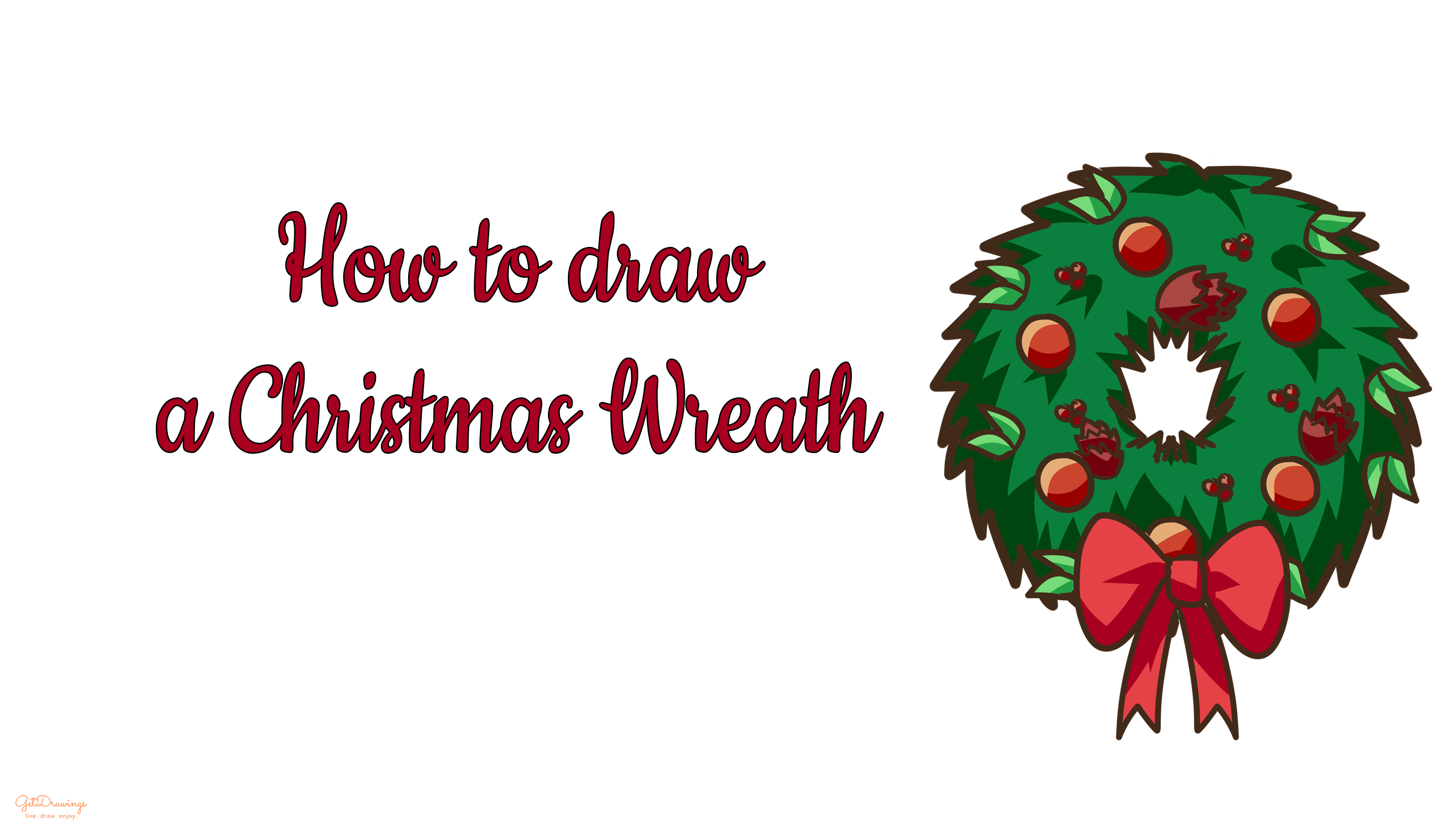 How to draw a Christmas Wreath