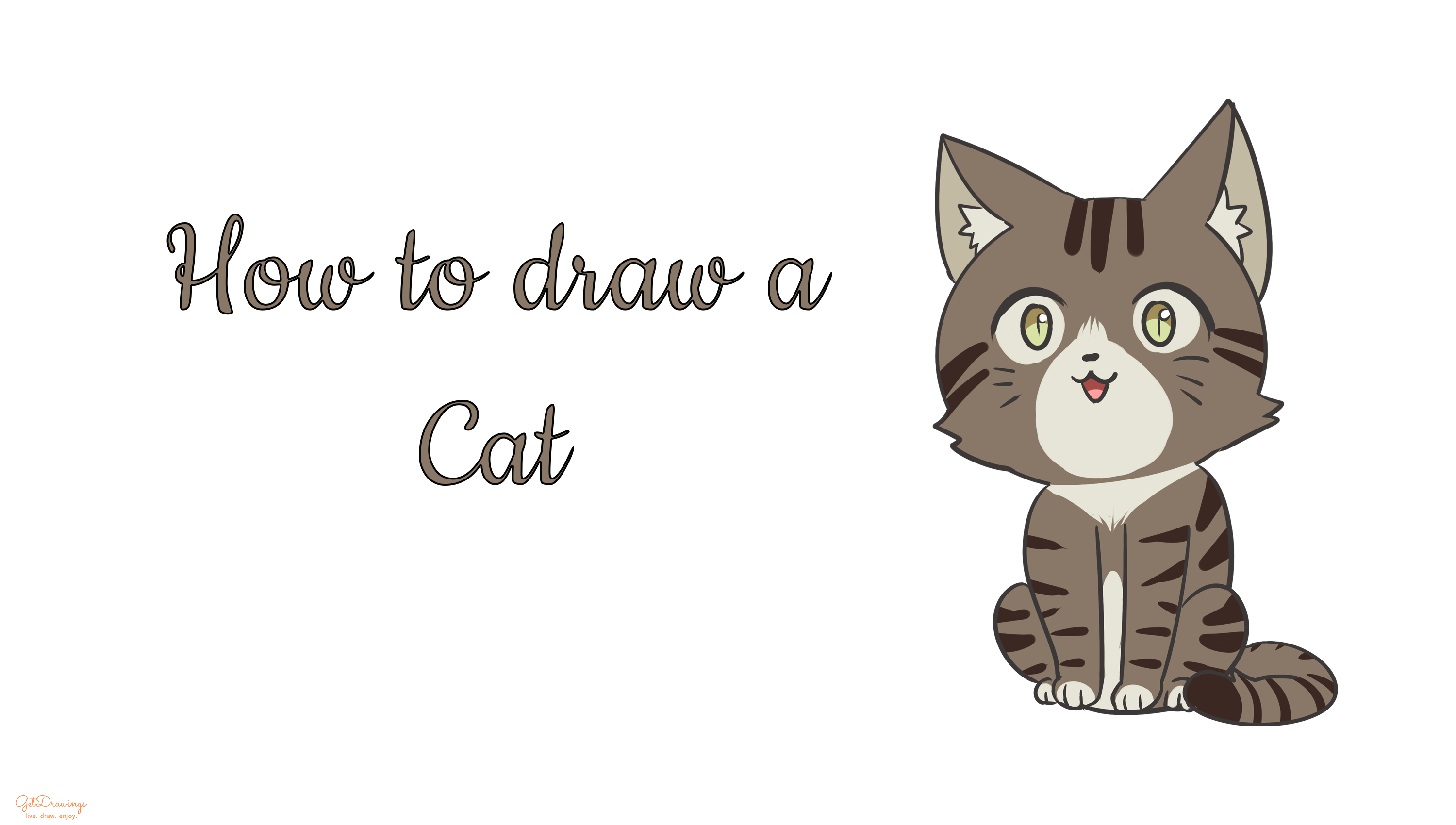 How to draw a cute cartoon Cat?