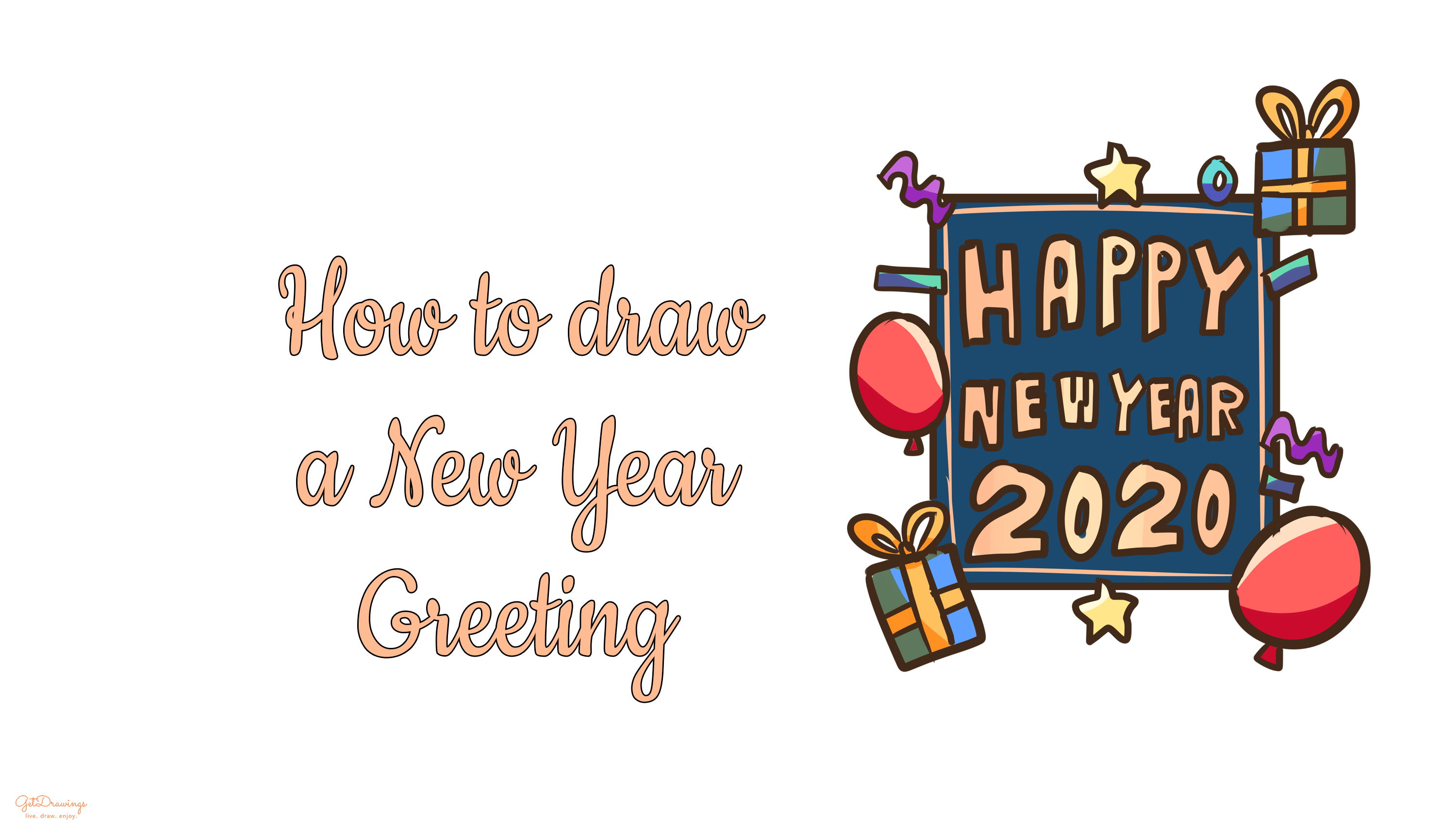 How to draw a New Year Greetings