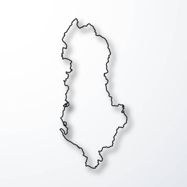 Albania Map Black Outline With Shadow On White