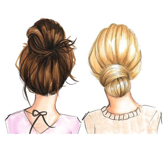 Blonde And Brunette Best Friend Drawing