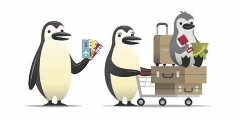 Cartoon Penguins clipart vector