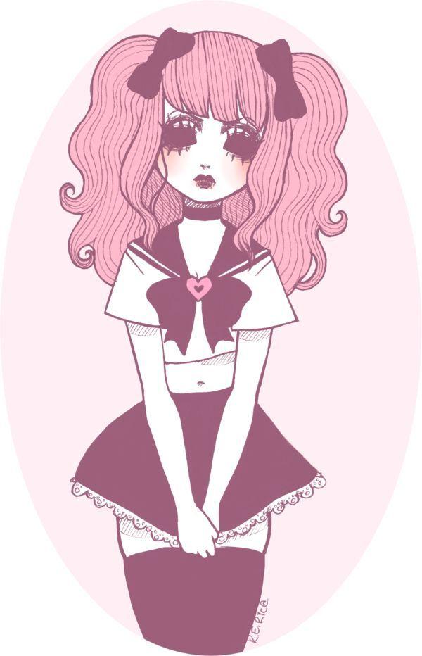 Art girl cute beautiful creepy pink