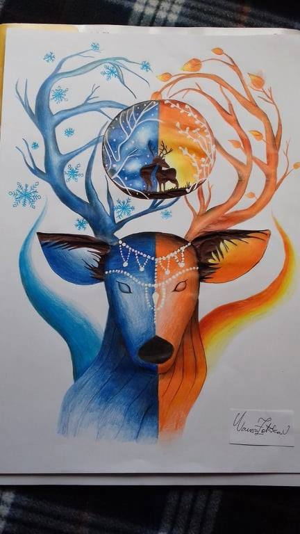 Deer drawing with colored pencils.