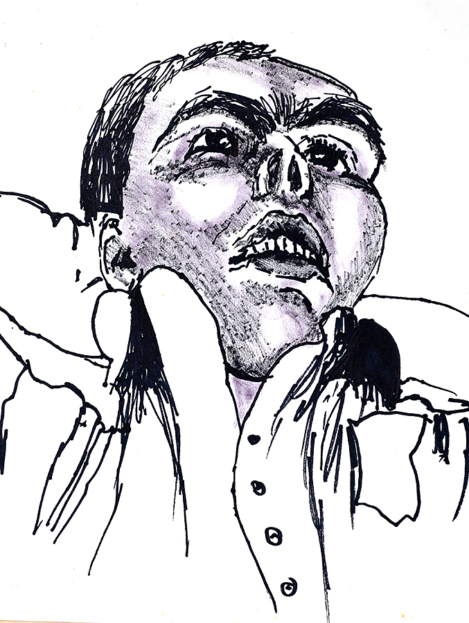 Expressive Man Portrait Drawing Ink On Paper Raphael Perez