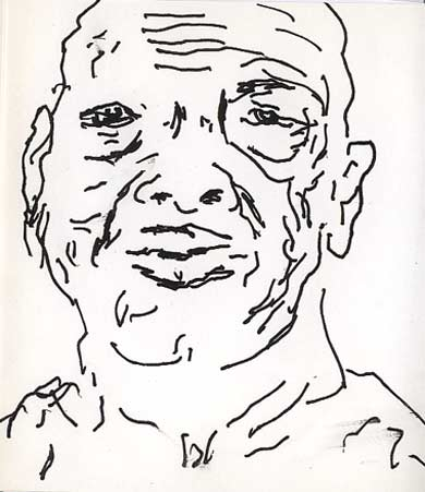 Expressive Portrait Drawing With Ink On Paper