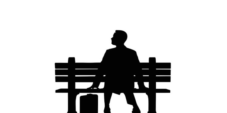 Forrest Gump Silhouette Sitting On Bench