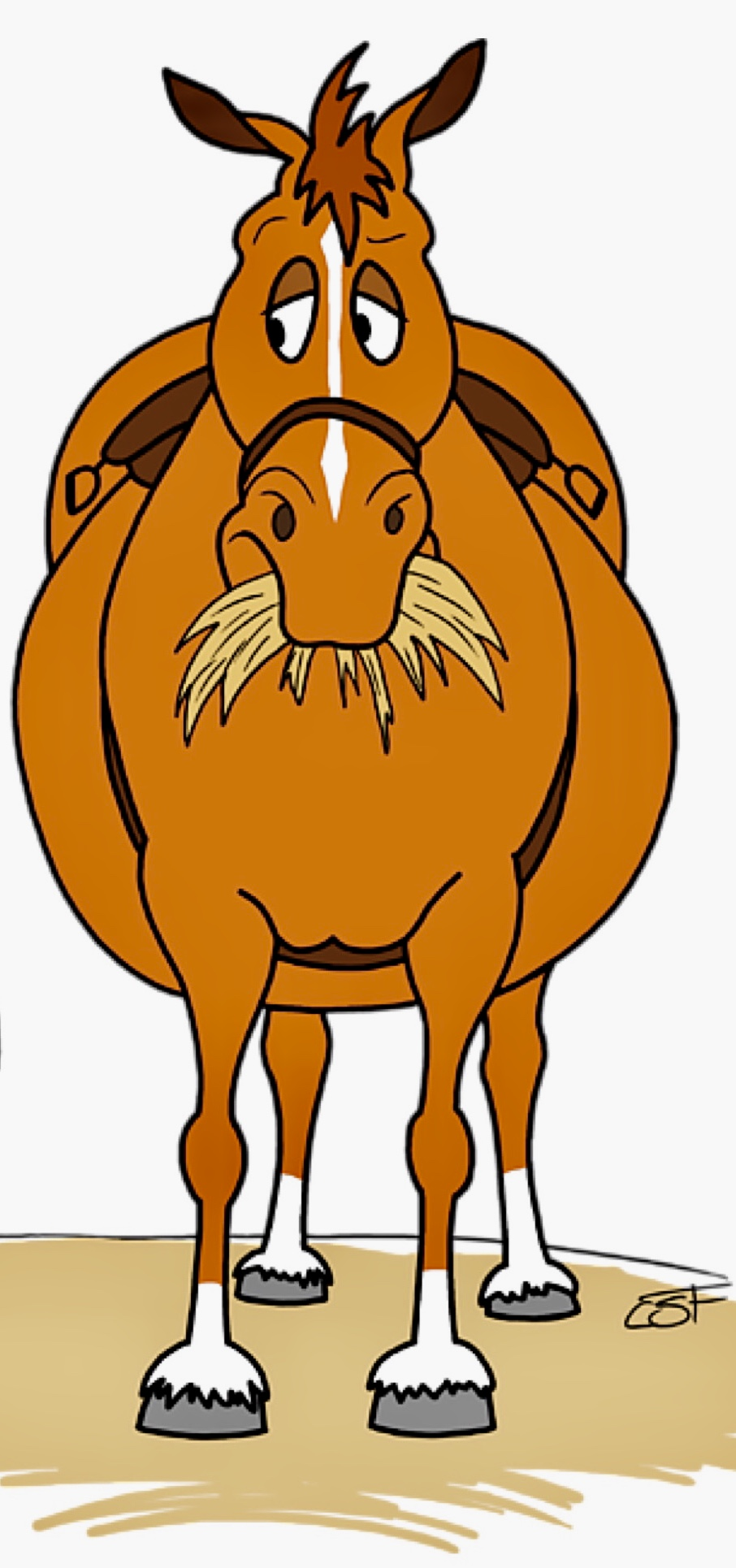Funny Fat Cartoon Horse Clipart