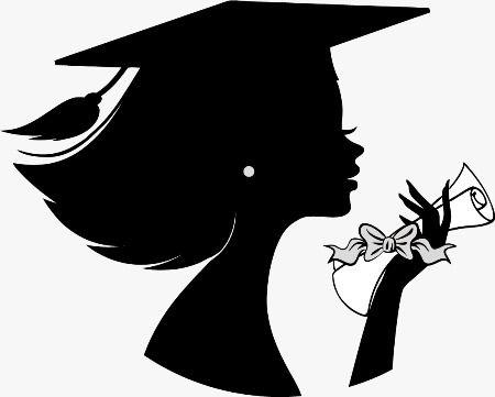 Graduation Girl Silhouette Clipart