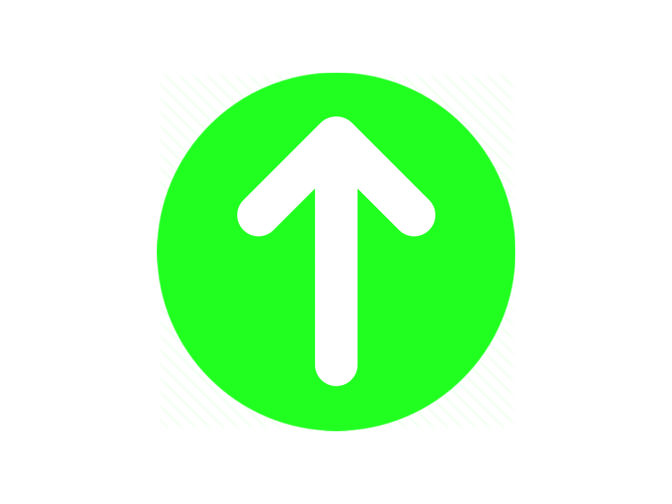 Green circle with upward white arrow
