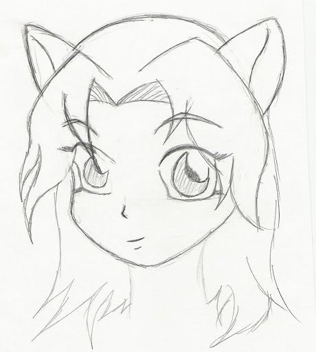Hand drawn anime girl sketch