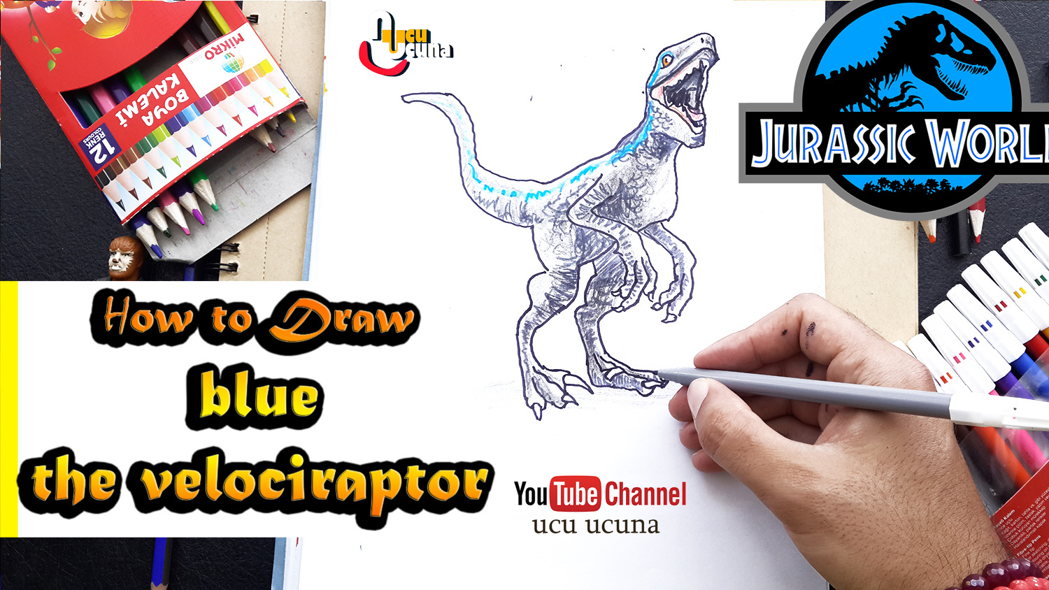 How To Draw Blue The Velociraptor