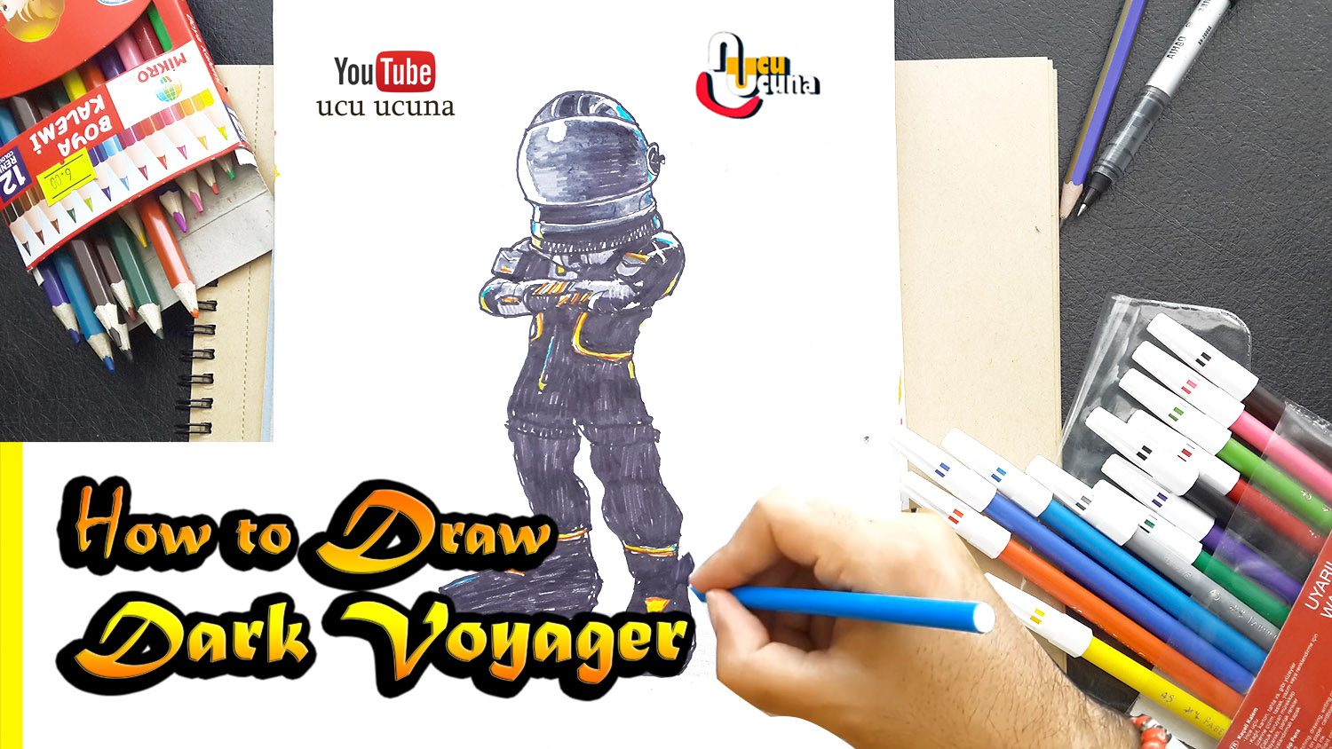 How to draw dark voyager tutorial youtube channel name is ucu ucuna learn how to draw dark voyager from fortnite step by step beginner drawing tutorial of the voyager skin from fortnite