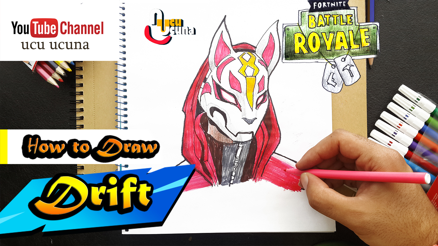 How to draw drift tutorial youtube channel name is ucu ucuna learn how to draw drift fully upragaded from fortnite step by step beginner drawing tutorial of the drift skin from fortnite