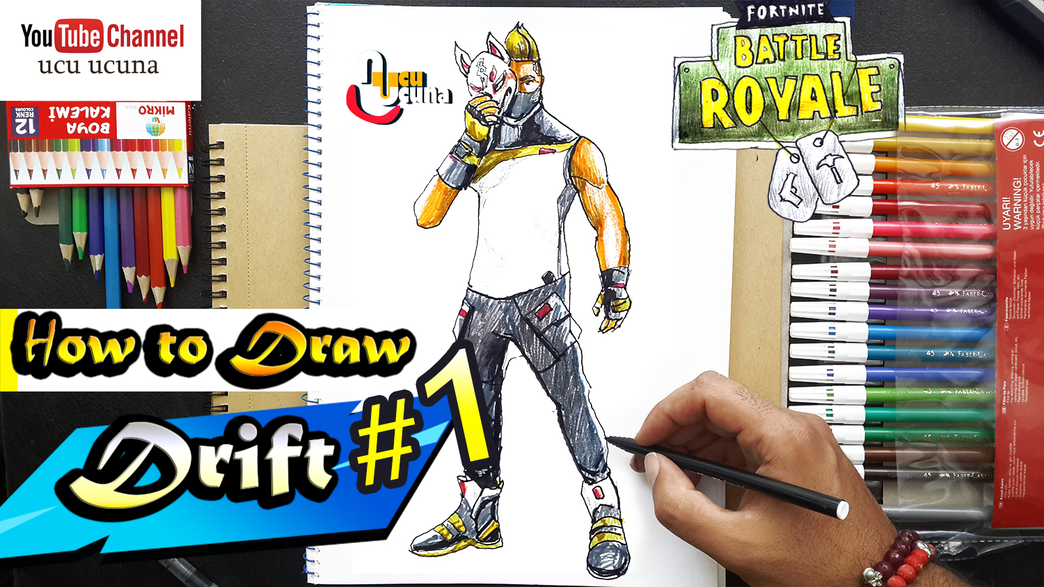 How to draw drift tutorial youtube channel name is ucu ucuna learn how to draw drift skin from fortnite step by step beginner drawing tutorial of the drift skin from fortnite