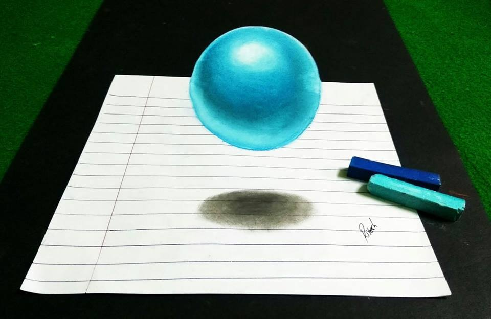 Step by step drawing of floating sphere on paper can be watched on channel 3dart4you on youtube