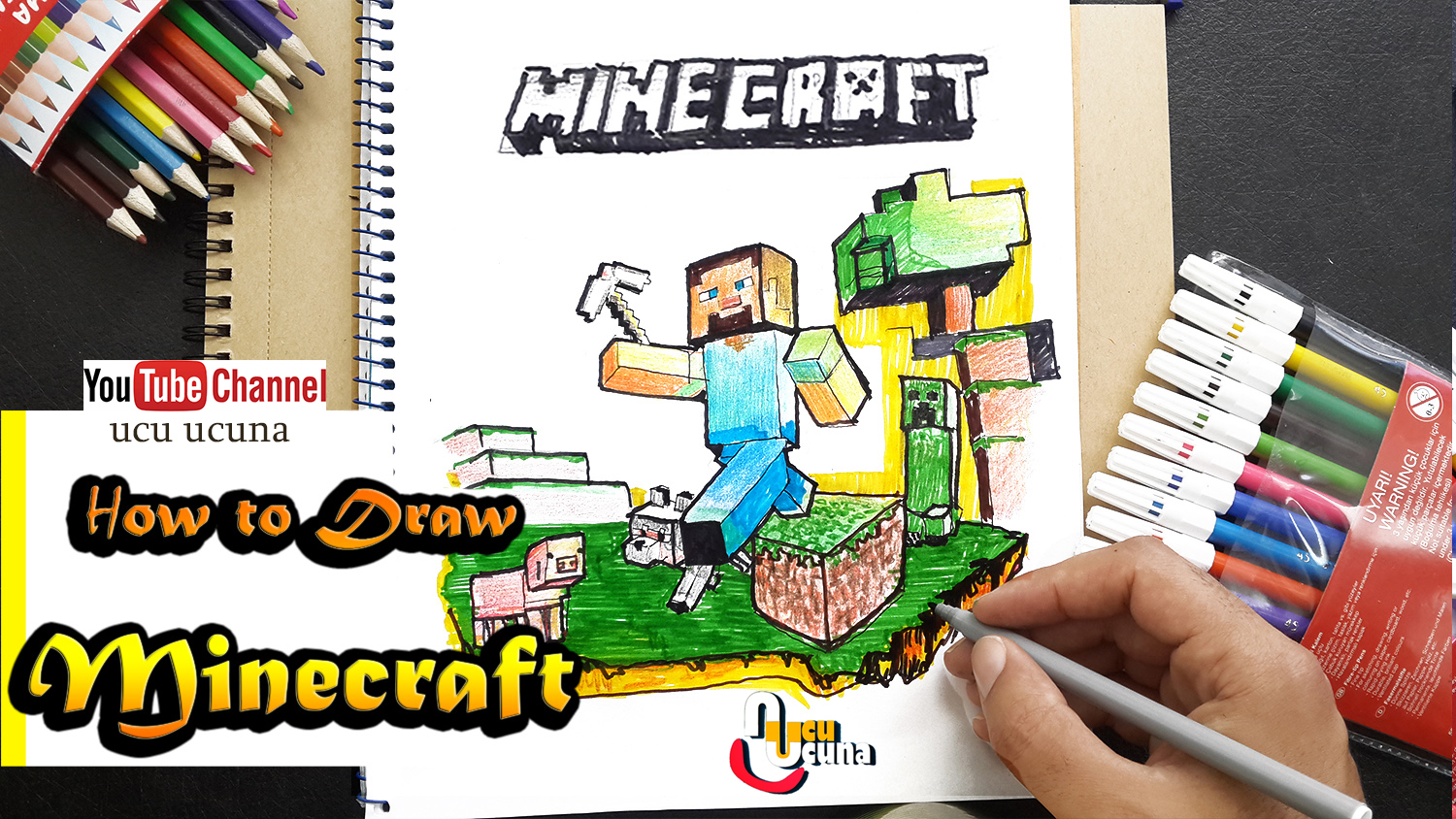 Hi everyone i ll be showing you how to draw minecraft   step by step Let s learn draw for  kids  art  important at my life  drow  with me i hope you like funny videos  tutorial if you like my draw you click my youtube channel ucu ucuna