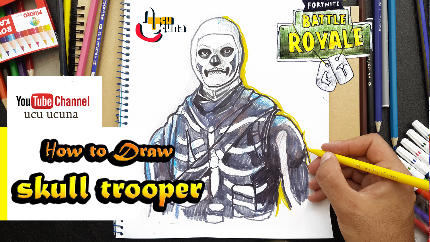 How to draw skulltrooper tutorial youtube channel name is ucu ucuna learn how to draw skull trooper from fortnite step by step beginner drawing tutorial of the skull trooper skin from fortnite