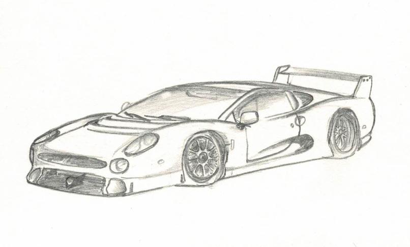 Drawing of a jaguar xj220