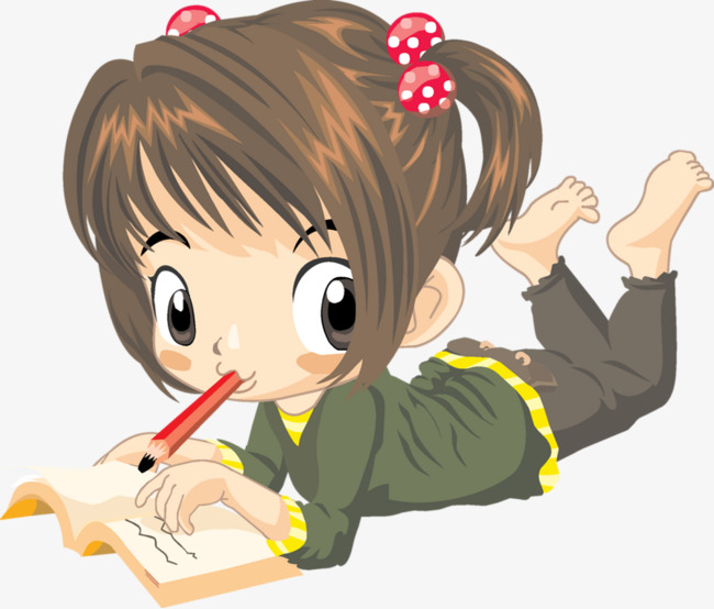Little Girl Writing Clipart