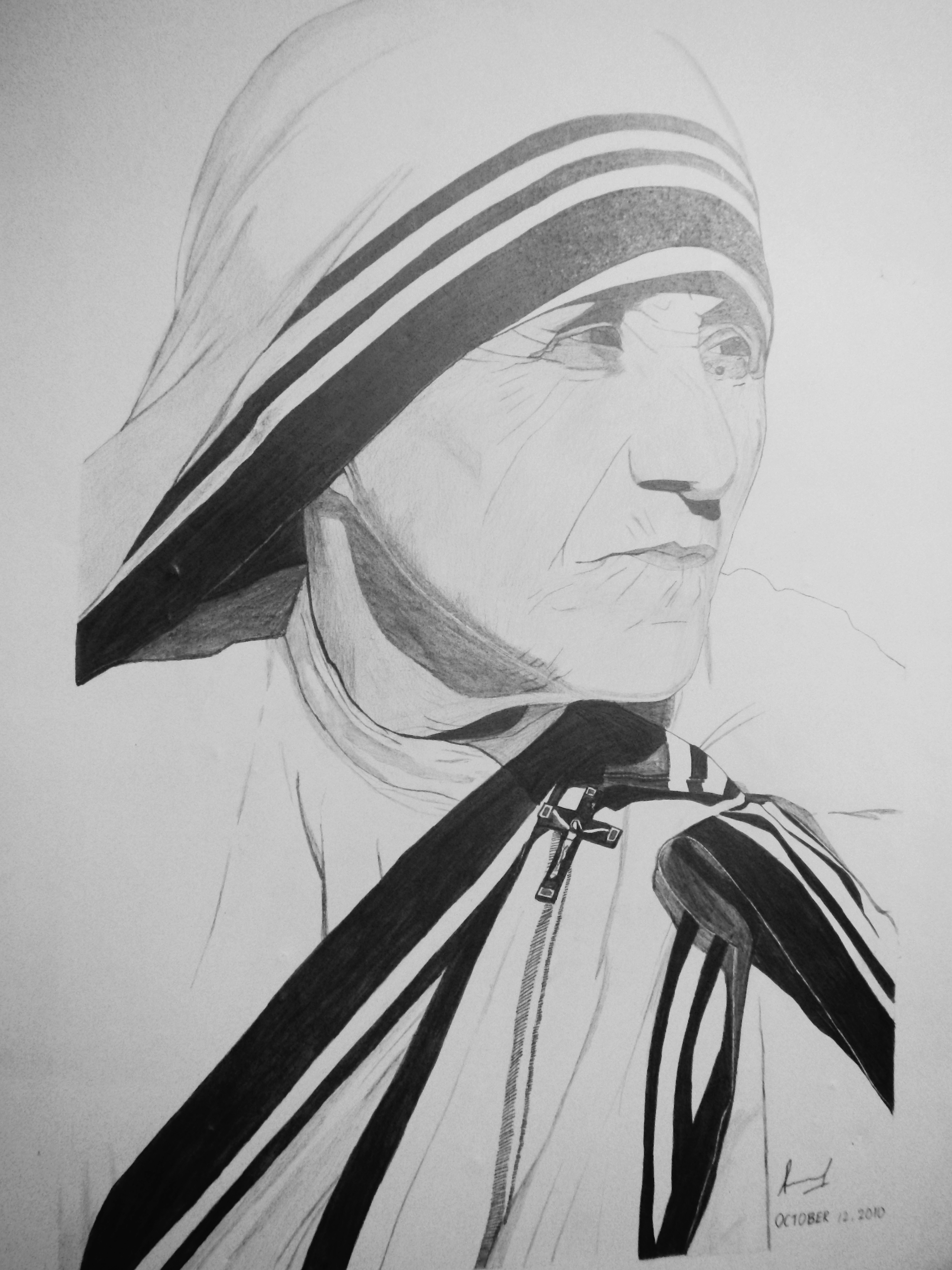 Mother Teresa Photo Realistic Pencil Drawing