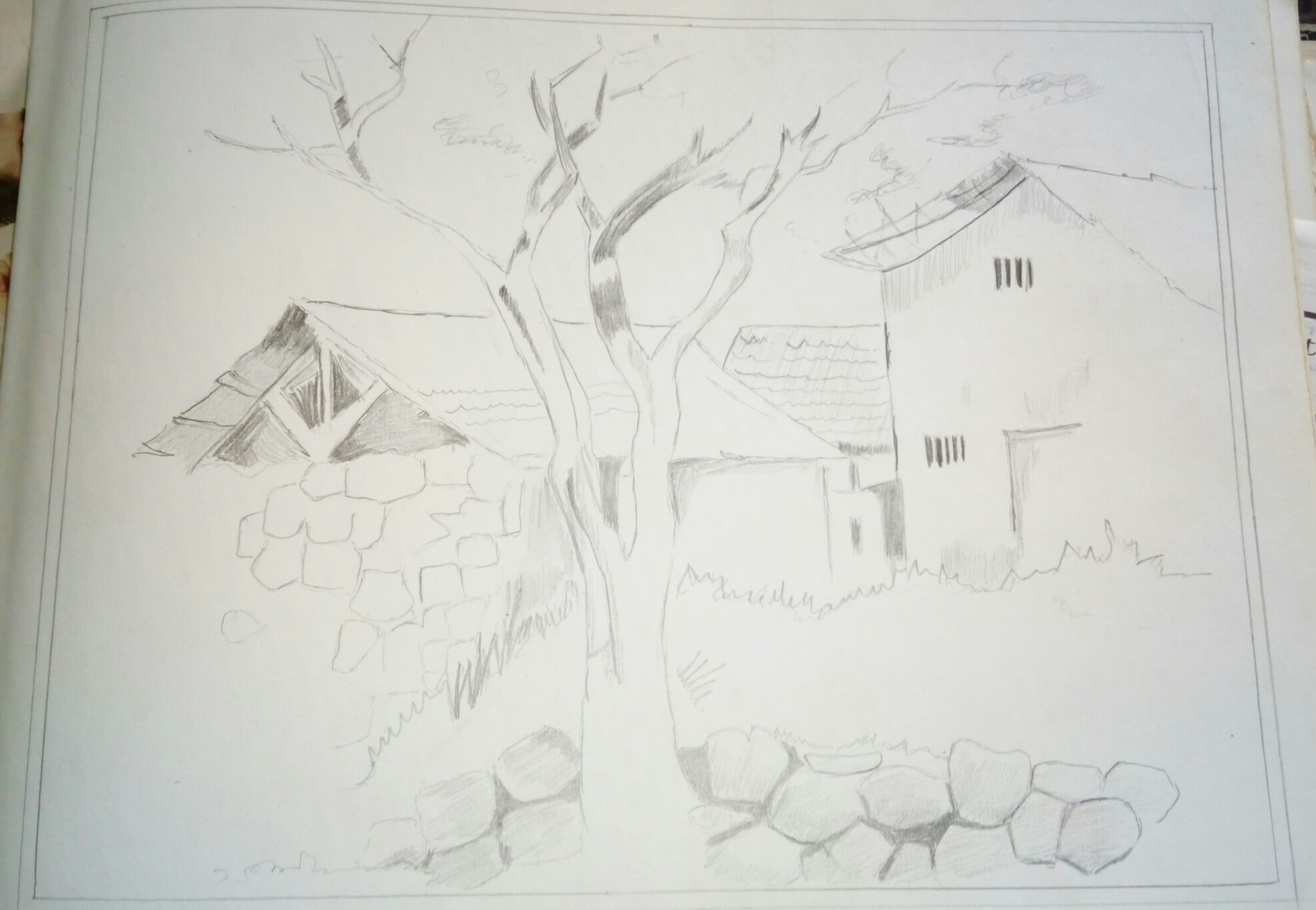 This is a scenery of a village. I have found this picture in a cover of a drawing exercise book. I have tried to recreate it in my own way. Only HB pencil has been used in the picture.