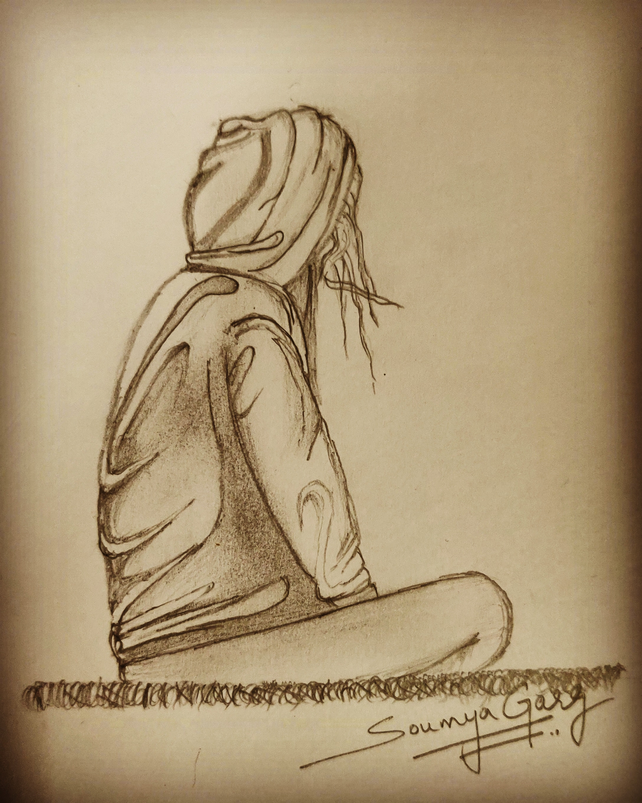 Sketch of self...to understand what u are, what u want, n to learn to be alone and stand alone in the crowd of many.. SG