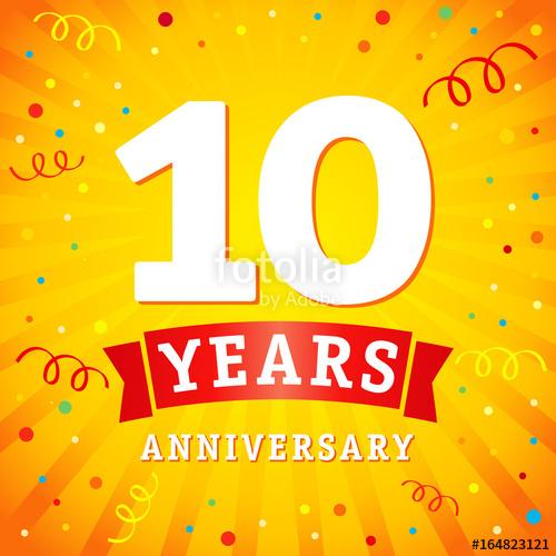 500x500 10 Years Anniversary Logo Celebration Card. 10th Years Anniversary