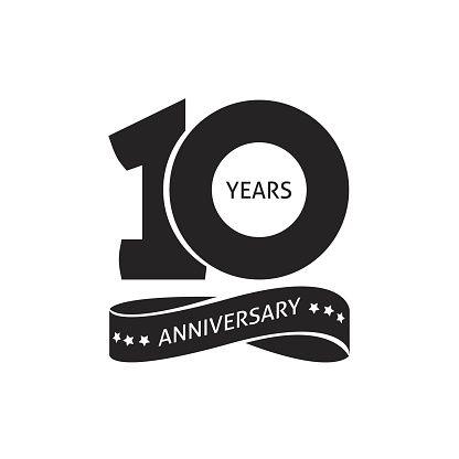416x416 10 Years Anniversary Pictogram Vector Icon, 10th Year Birthday