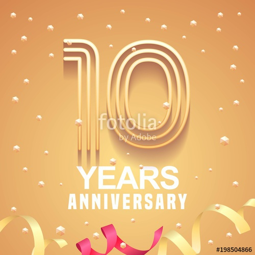 500x500 10 Years Anniversary Vector Icon, Logo Stock Image And Royalty
