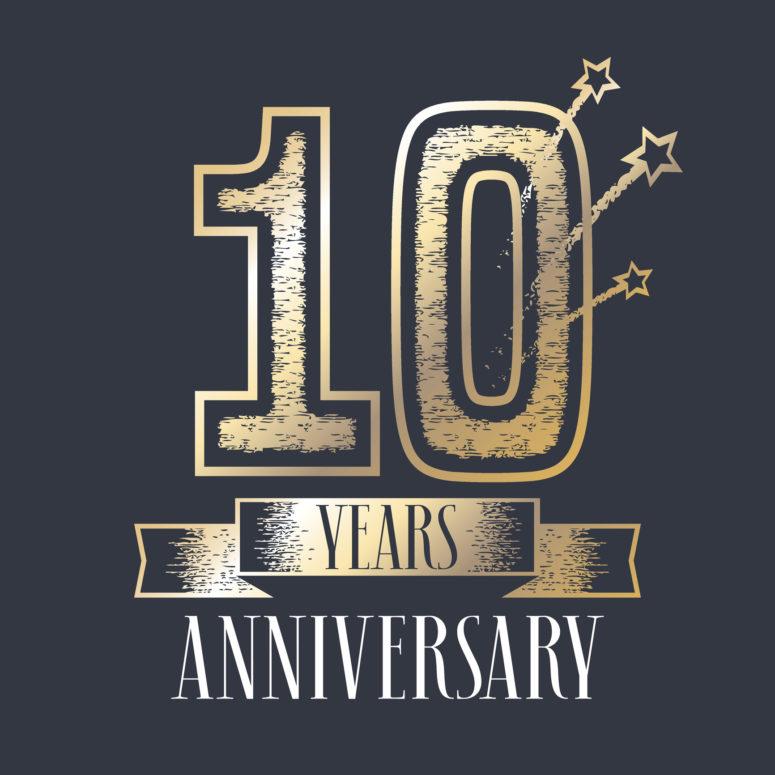 775x775 10 Years Anniversary Vector Icon