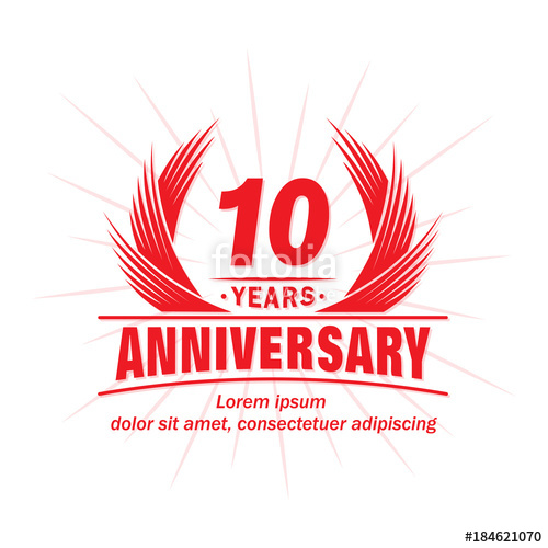 500x500 10 Years Design Template. Anniversary Vector And Illustration