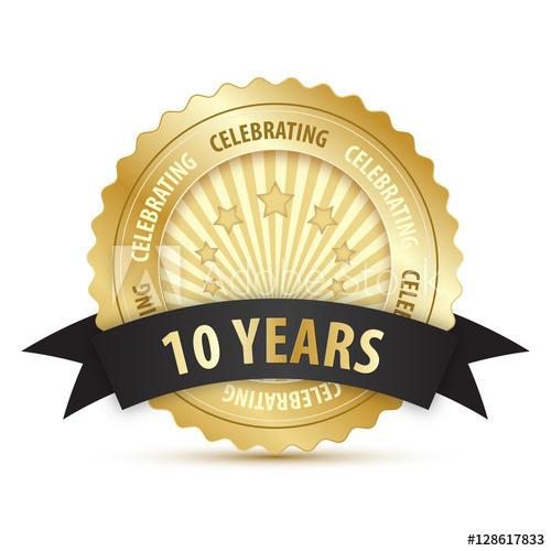 500x500 10 Year Anniversary Vector Icon