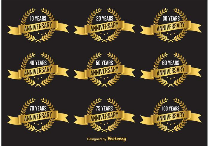 700x490 Gold Anniversary Vector Labels