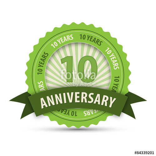 500x500 10 Year Anniversary Vector Icon Stock Image And Royalty Free