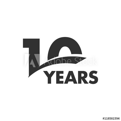 500x500 Isolated Abstract 10 Years Anniversary Vector Logo. Happy 10th