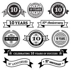 235x231 Ten Year Anniversary Vector Badge Set Royalty Free Vector