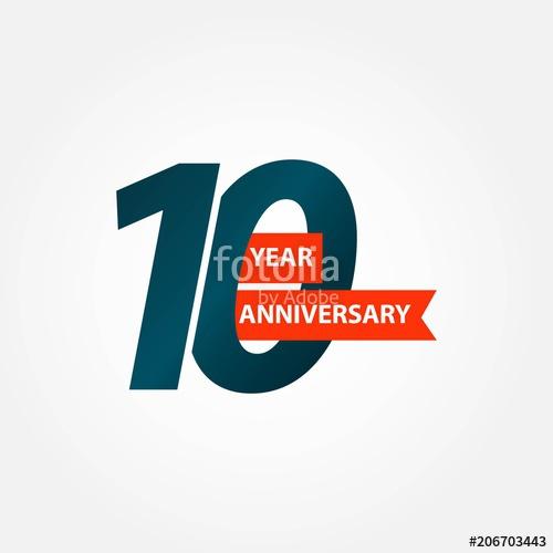 500x500 10 Year Anniversary Vector Template Design Illustration Stock