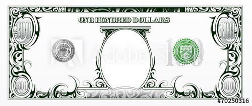 500x212 100 Dollars Bill. Cartoon Money