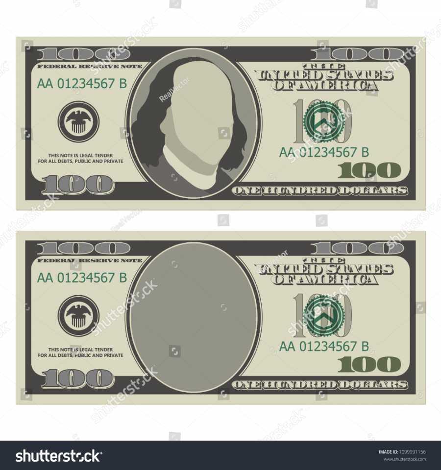 900x960 One Hundred Dollar Bill Design Template Stock Vector 1099991156