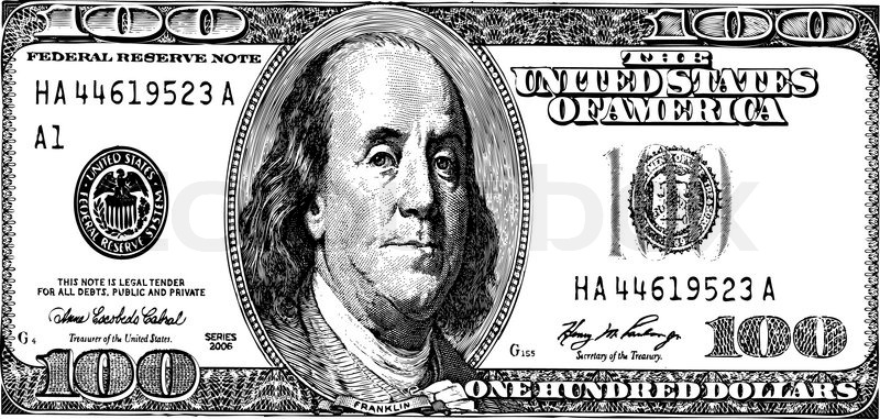 800x381 One Hundred Dollars, Vector Without Gradients Stock Vector