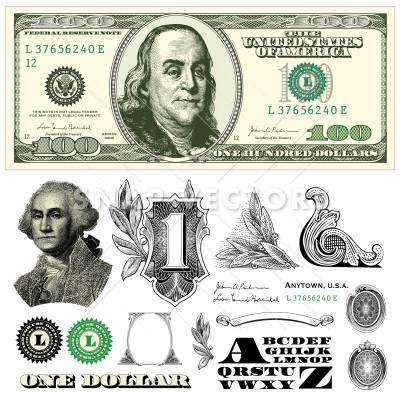 400x400 Vector 100 Dollar Bill Template