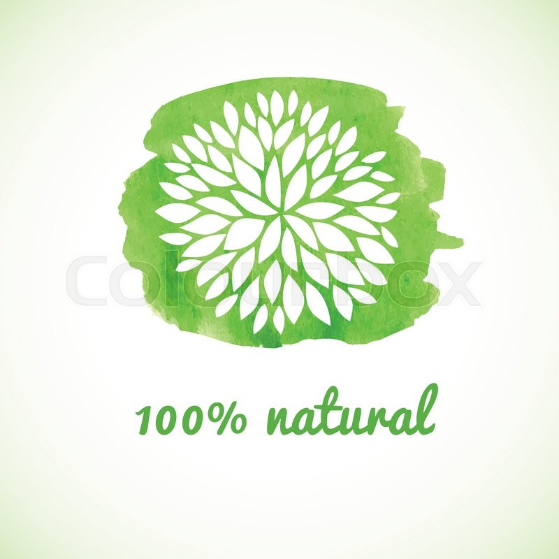 800x800 100 Natural. Vector Banner. Logotype Design With Flower On